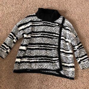 Calvin Klein Wrap Black & White Buckle Sweater